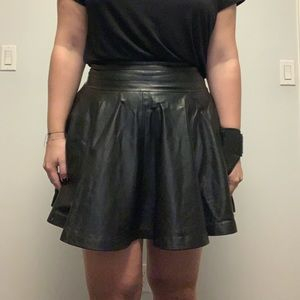 Milly Leather Pleated Skirt